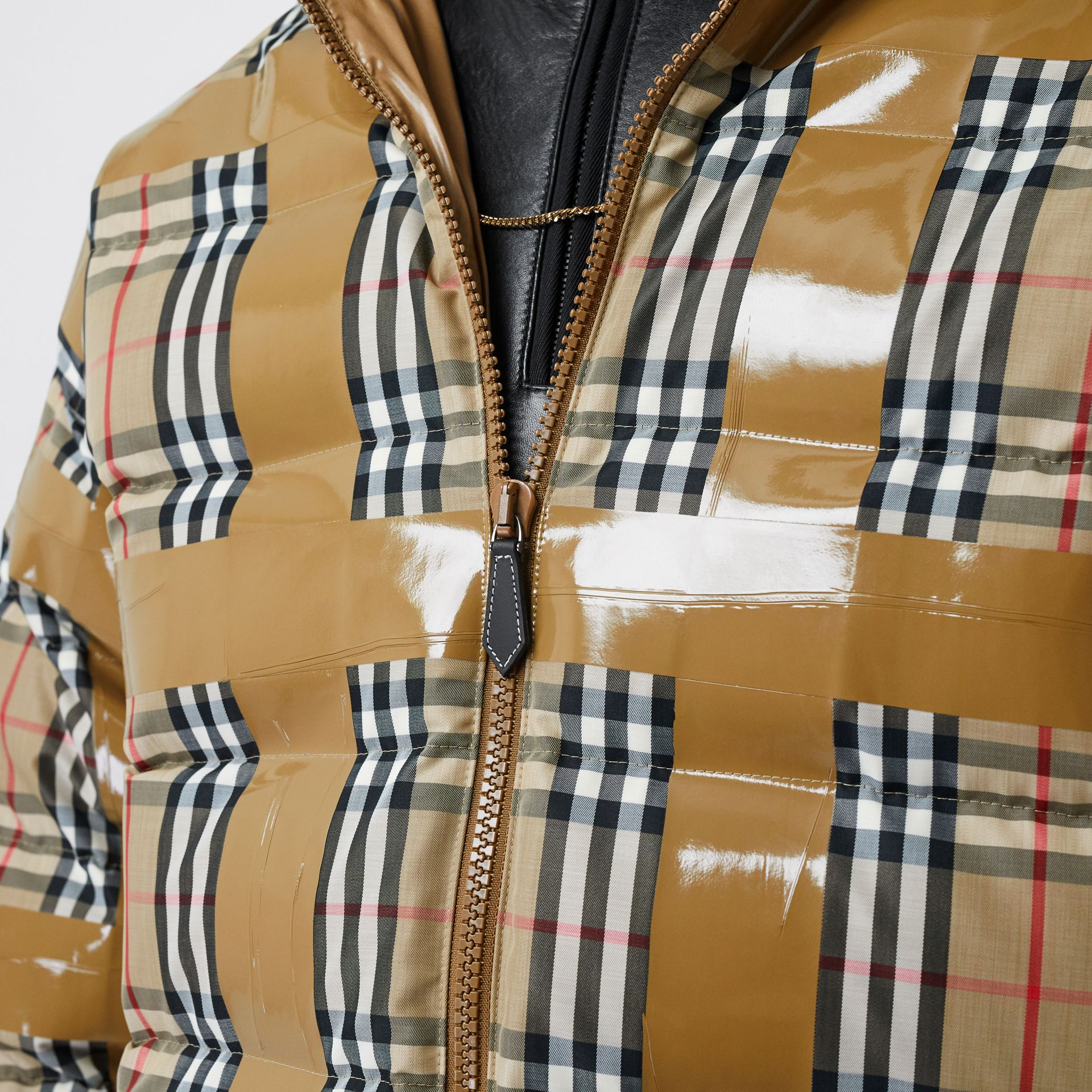Tape Detail Vintage Check Puffer Jacket in Archive Beige - Men | Burberry Singapore - gallery image 4