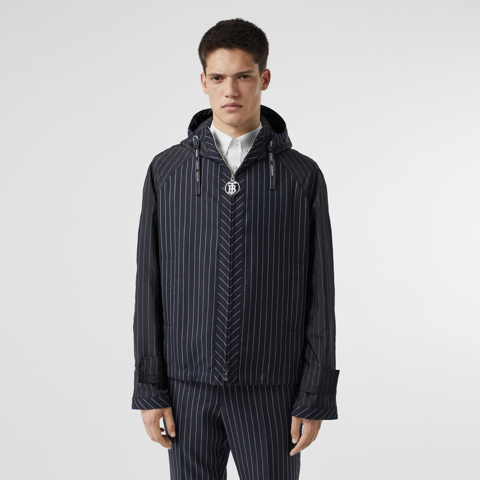Pinstriped Wool Hooded Jacket in Dark Navy/white | Burberry Australia - gallery image 0