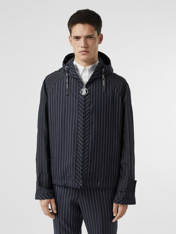 Pinstriped Wool Hooded Jacket in Dark Navy/white