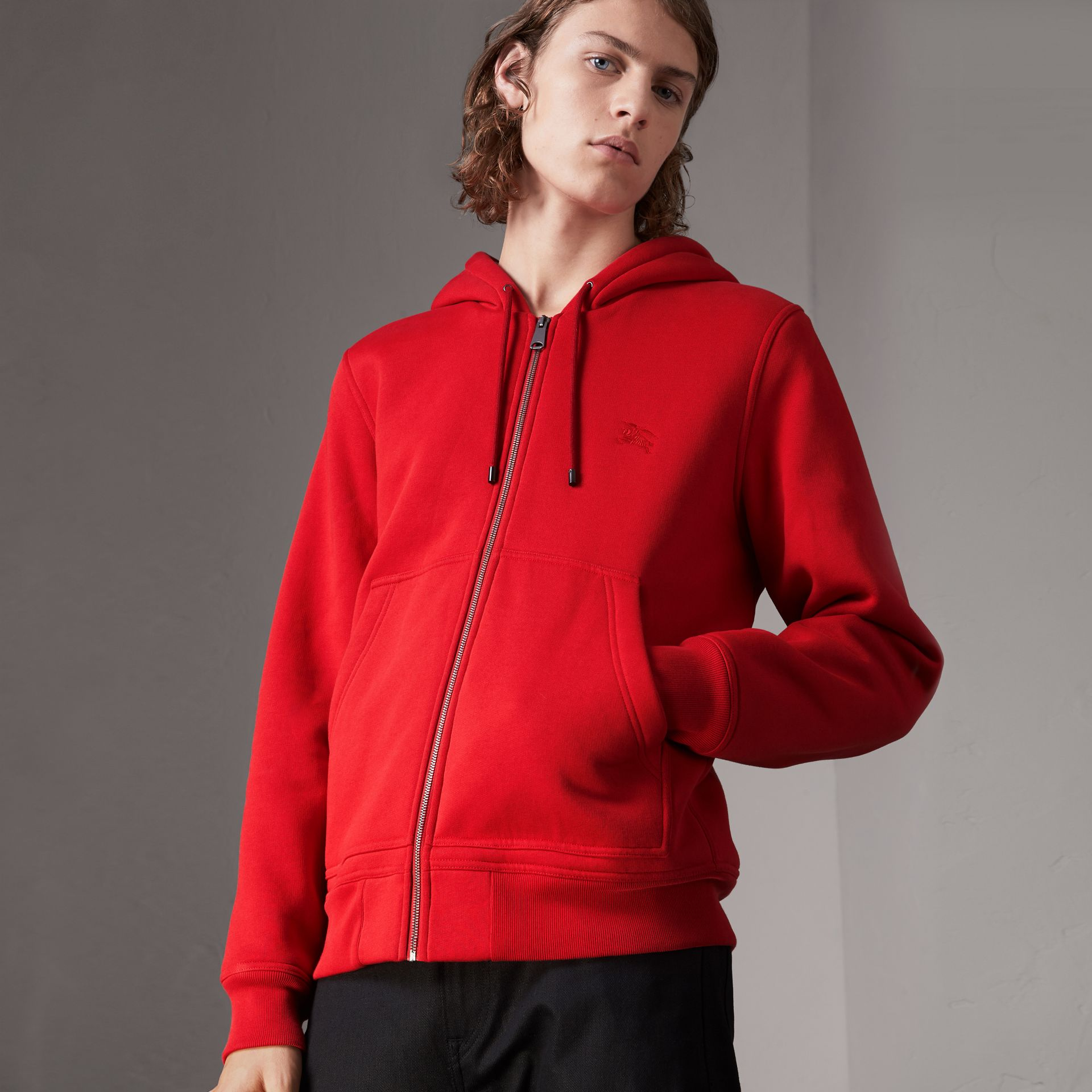 Check Detail Jersey Hooded Top in Military Red - Men | Burberry - gallery image 0