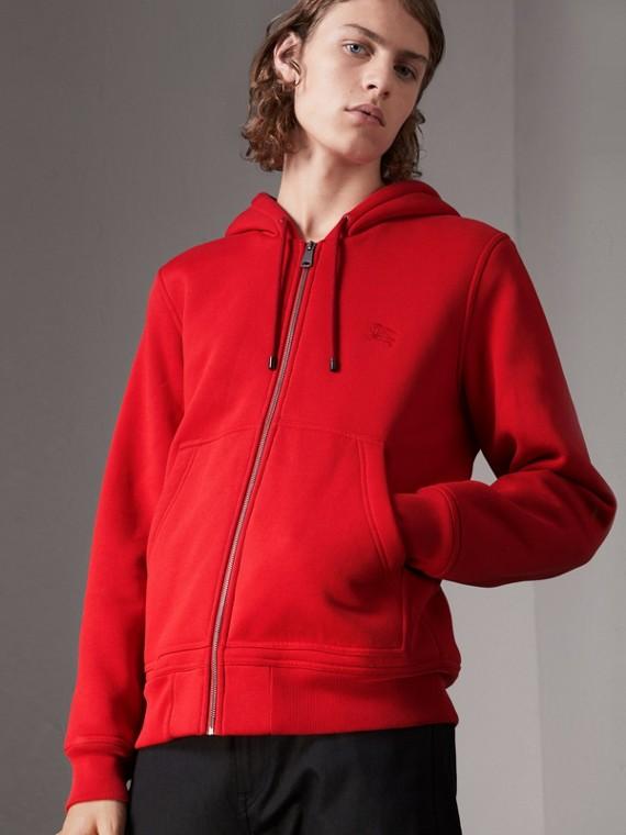 Haut en jersey à capuche à détails check (Rouge Militaire)