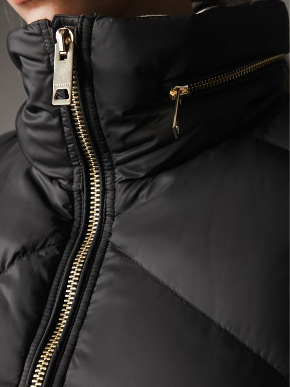 Chevron-quilted Down-filled Coat in Black - Women | Burberry - cell image 1