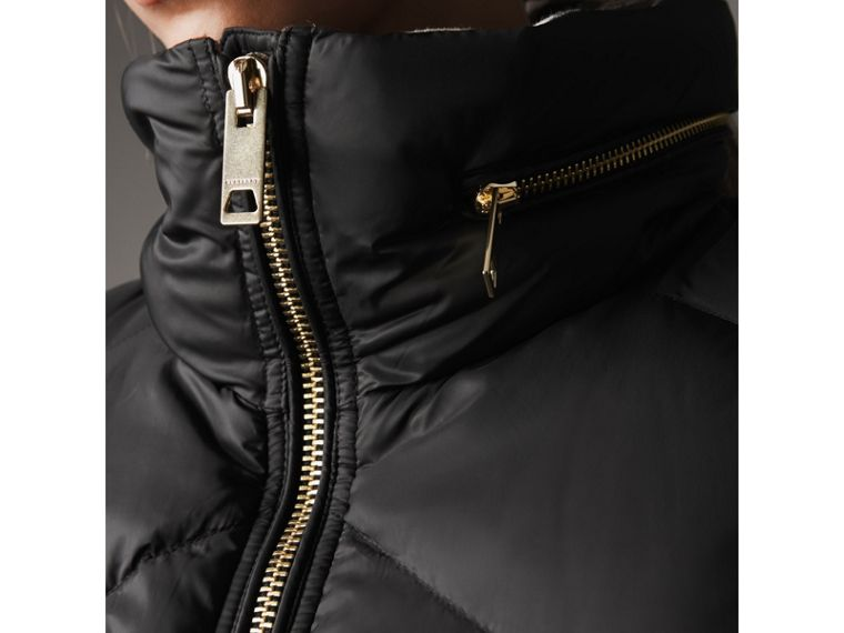 Chevron-quilted Down-filled Coat in Black - Women | Burberry United Kingdom - cell image 1