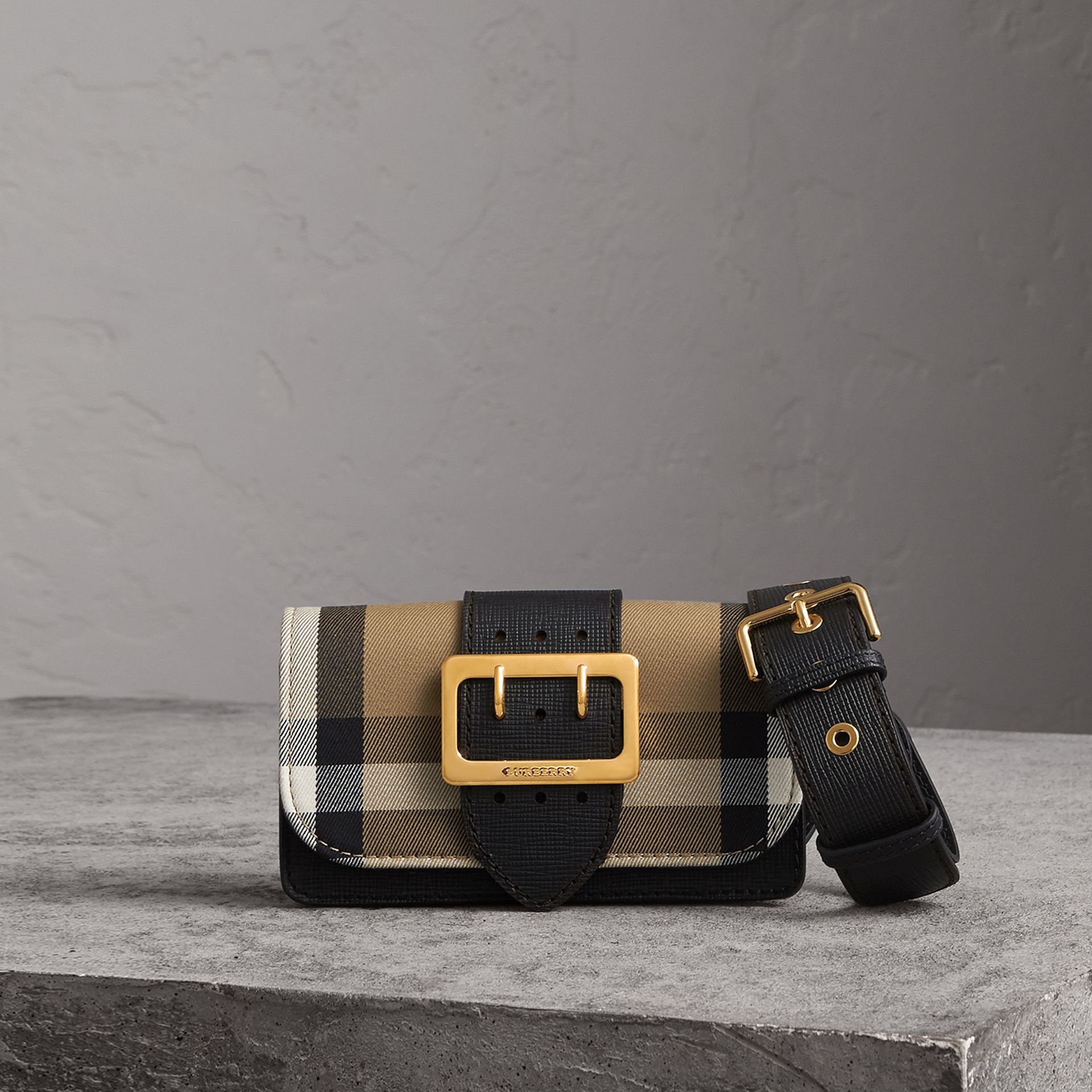 The Small Buckle Bag in House Check and Leather in Black - Women | Burberry - gallery image 0