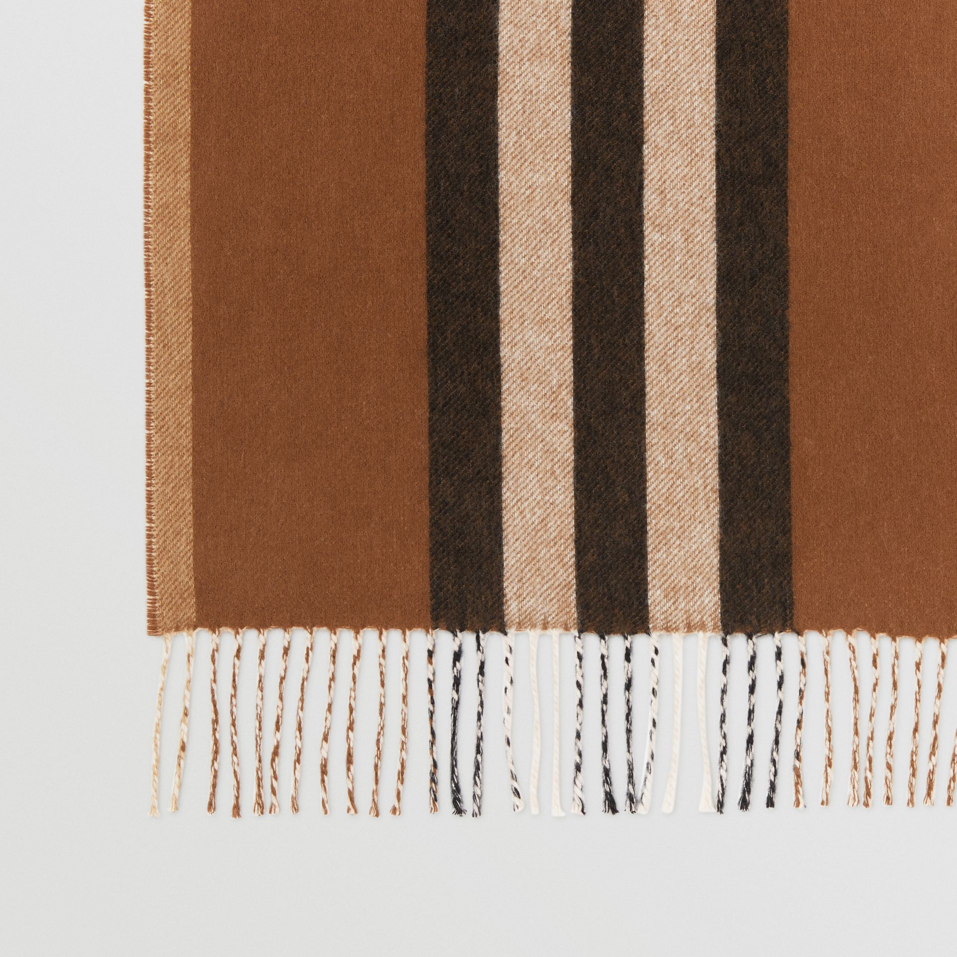 Reversible Icon Stripe Cashmere Scarf in Dark Chestnut Brown | Burberry Australia - gallery image 1