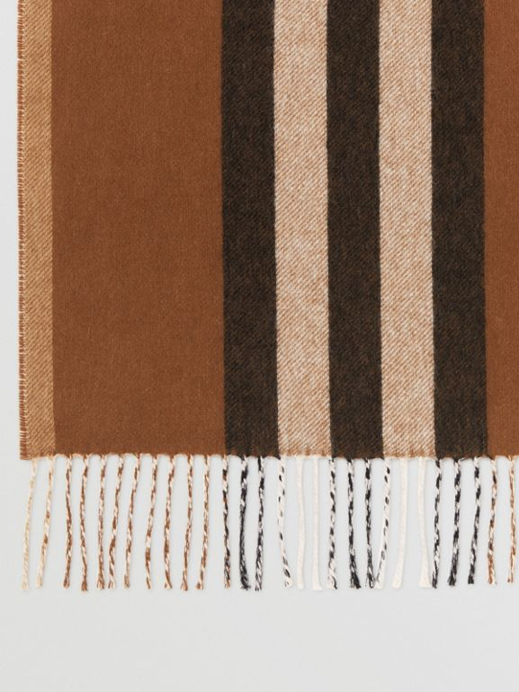 Reversible Icon Stripe Cashmere Scarf in Dark Chestnut Brown | Burberry - cell image 1
