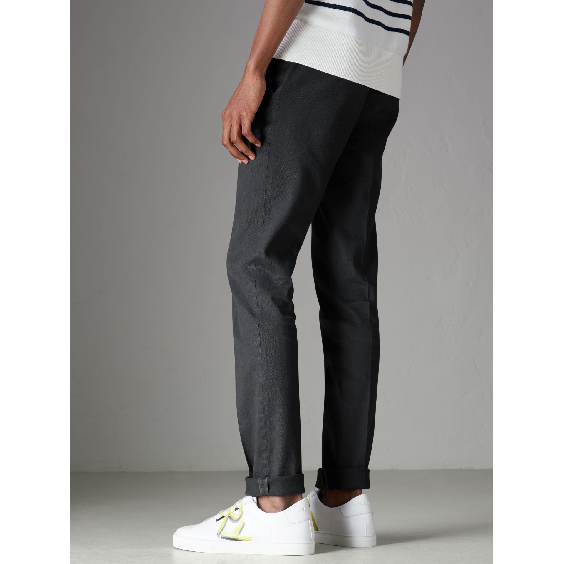 Linen Cotton Tailored Trousers in Dark Charcoal - Men | Burberry Australia - gallery image 2