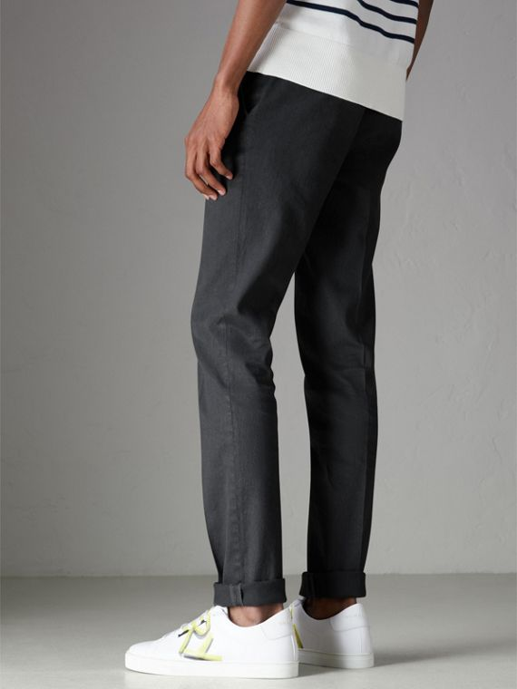 Linen Cotton Tailored Trousers in Dark Charcoal - Men | Burberry Australia - cell image 2