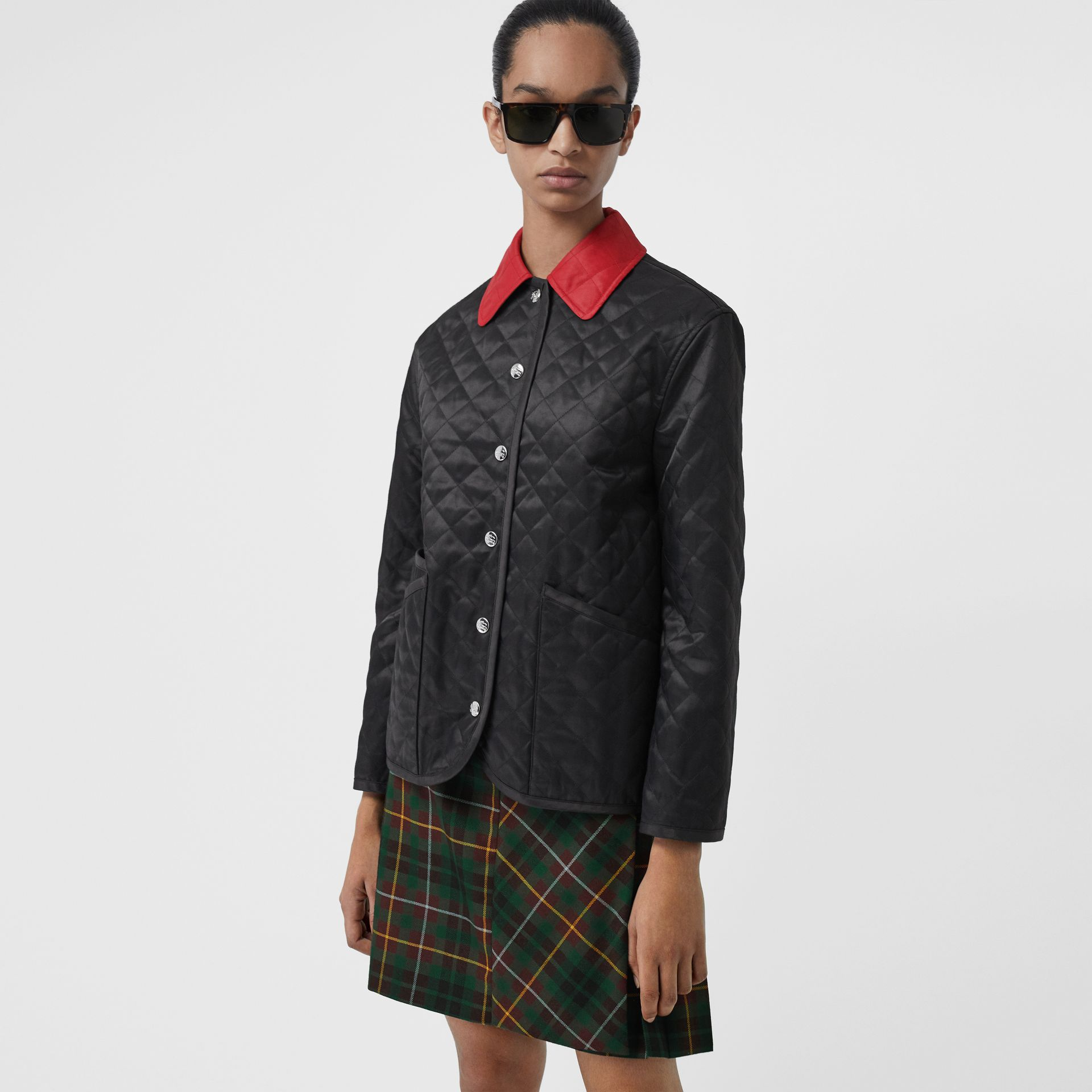 Diamond Quilted Barn Jacket in Black - Women | Burberry - gallery image 4