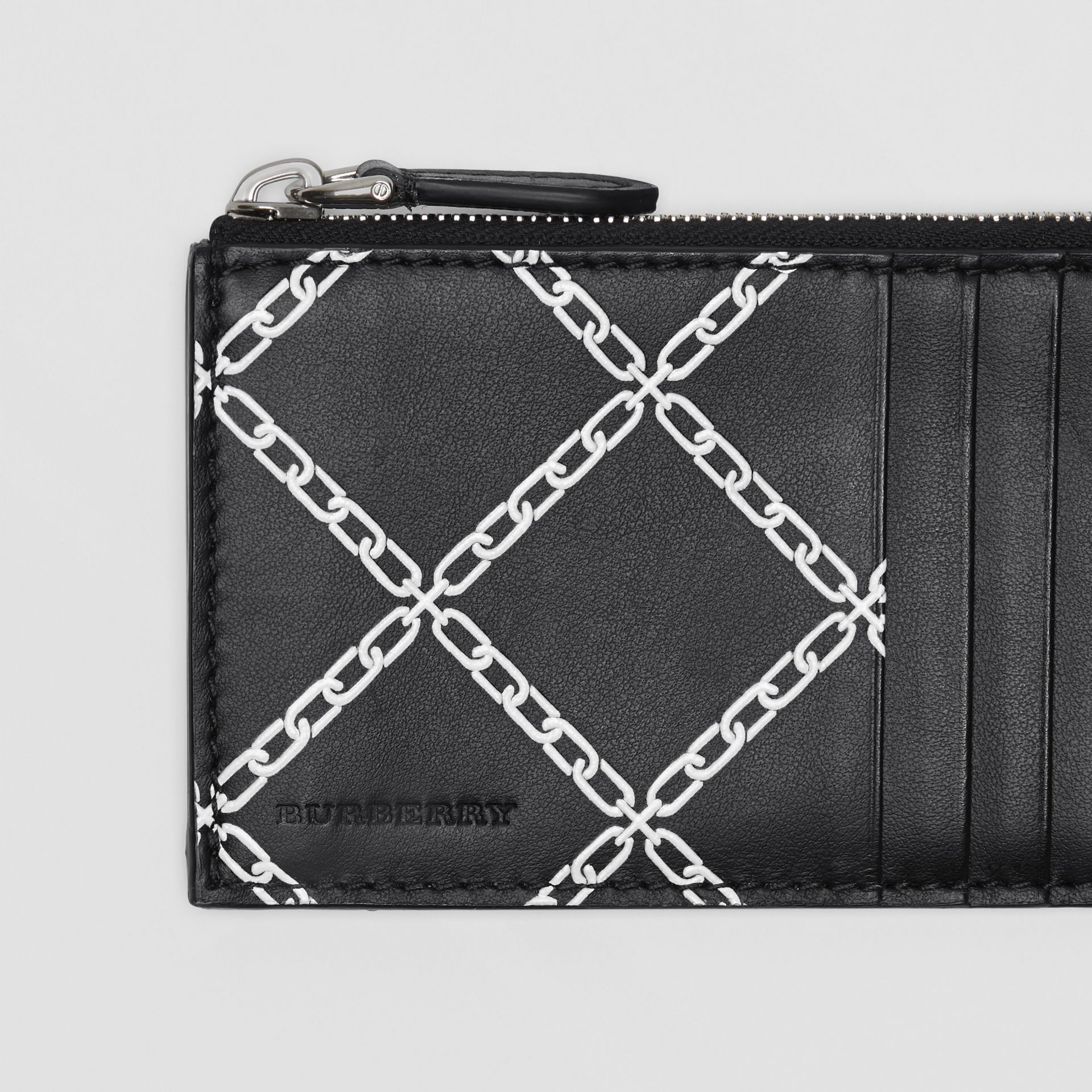 Link Print Leather Card Case in Black - Men | Burberry - gallery image 1