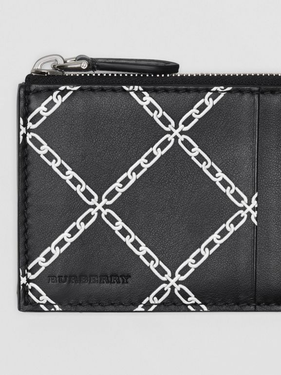 Link Print Leather Card Case in Black - Men | Burberry - cell image 1