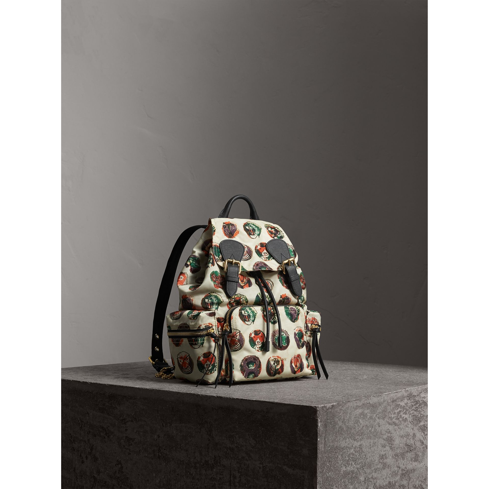 The Medium Rucksack in Technical Nylon with Pallas Heads Print in Natural White - Women | Burberry - gallery image 1