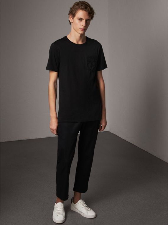 Rope Embroidered Pocket Cotton T-shirt in Black