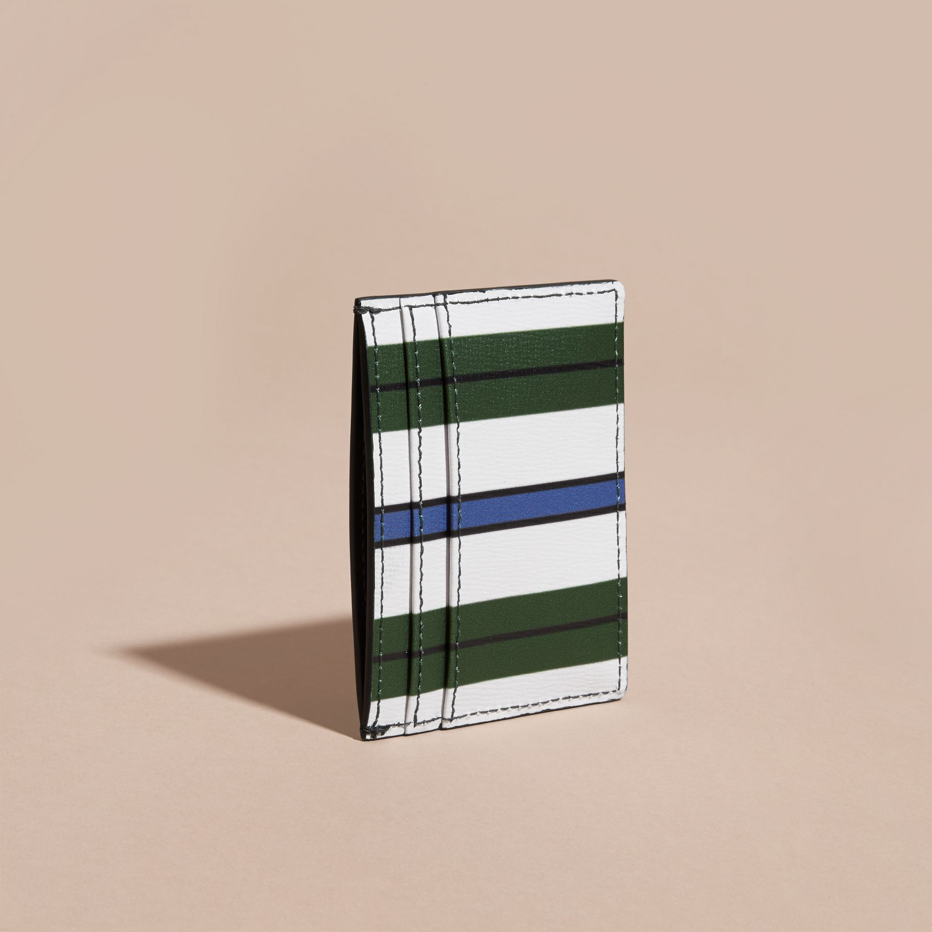 Olive green Pyjama Stripe London Leather Card Case Olive Green - gallery image 4