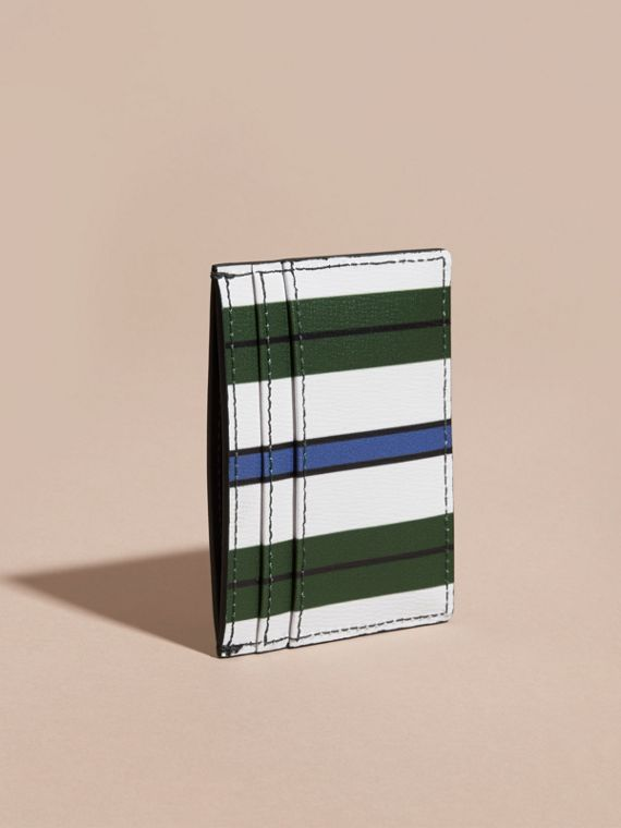 Pyjama Stripe London Leather Card Case Olive Green - cell image 3