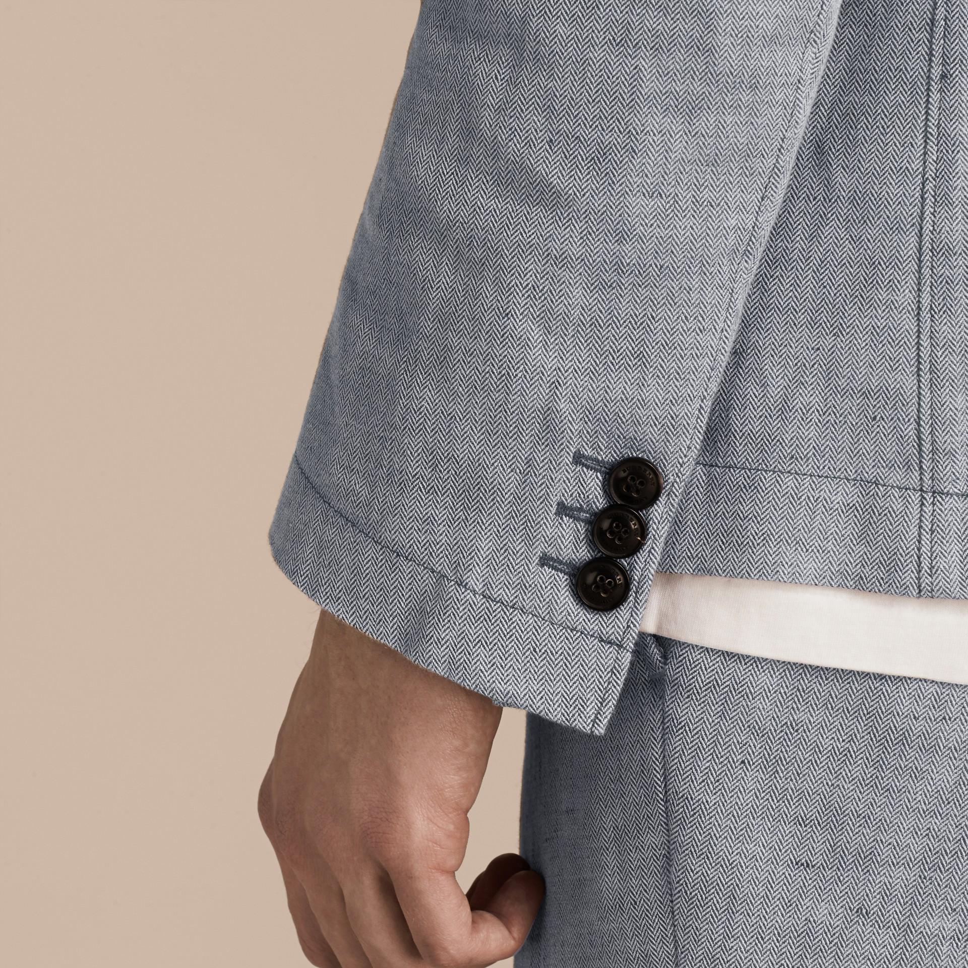 Pale blue Herringbone Linen Cotton Tailored Jacket Pale Blue - gallery image 5