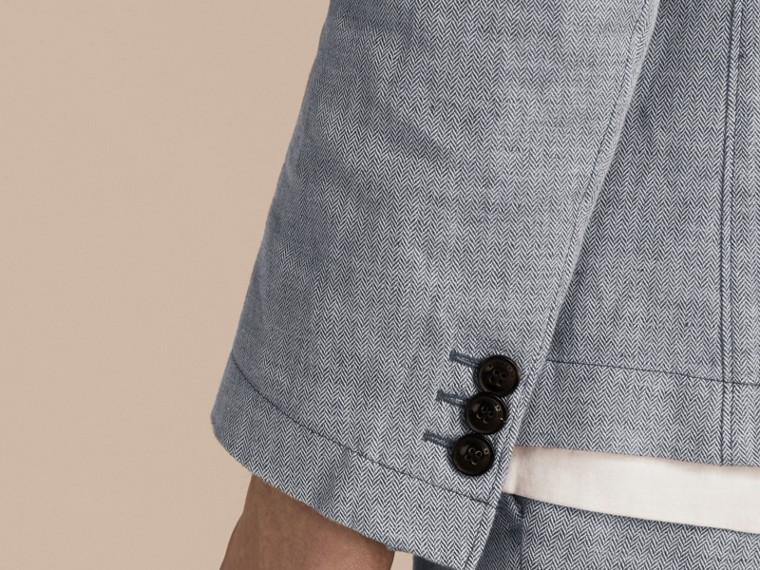 Pale blue Herringbone Linen Cotton Tailored Jacket Pale Blue - cell image 4