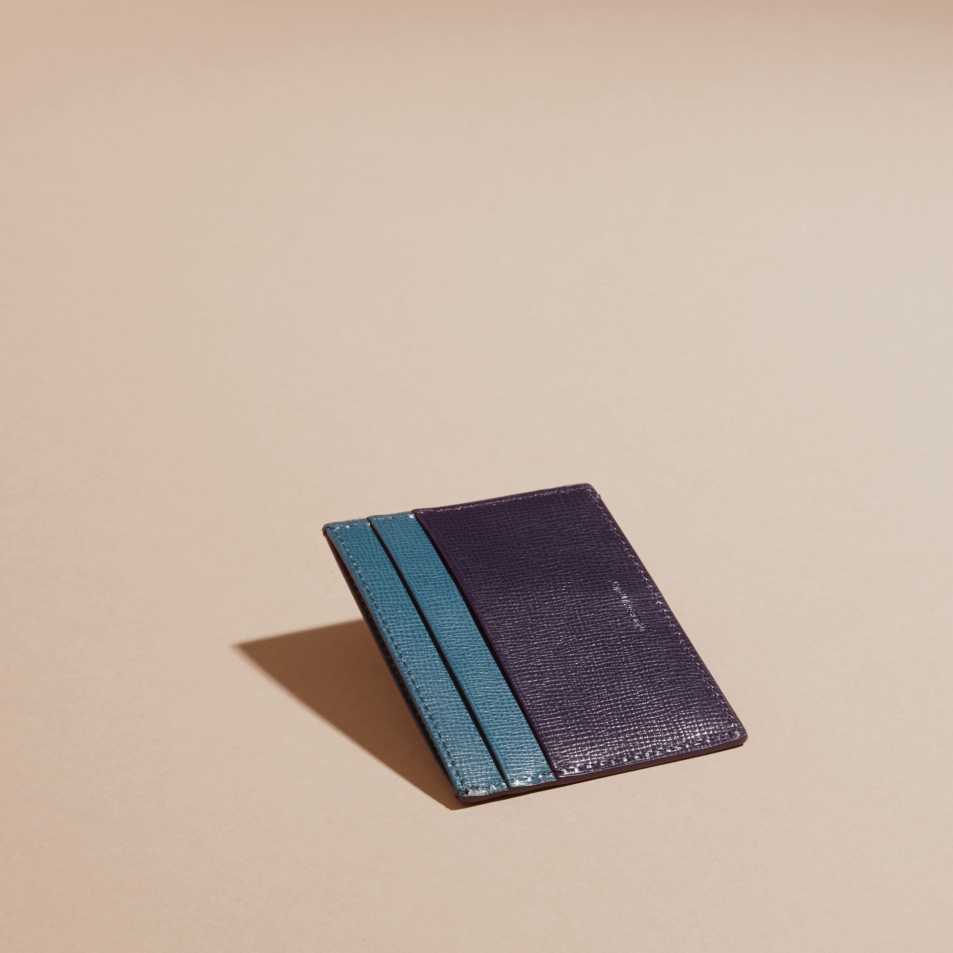 Dark navy/mineral blue Colour Block London Leather Card Case Dark Navy/mineral Blue - gallery image 4