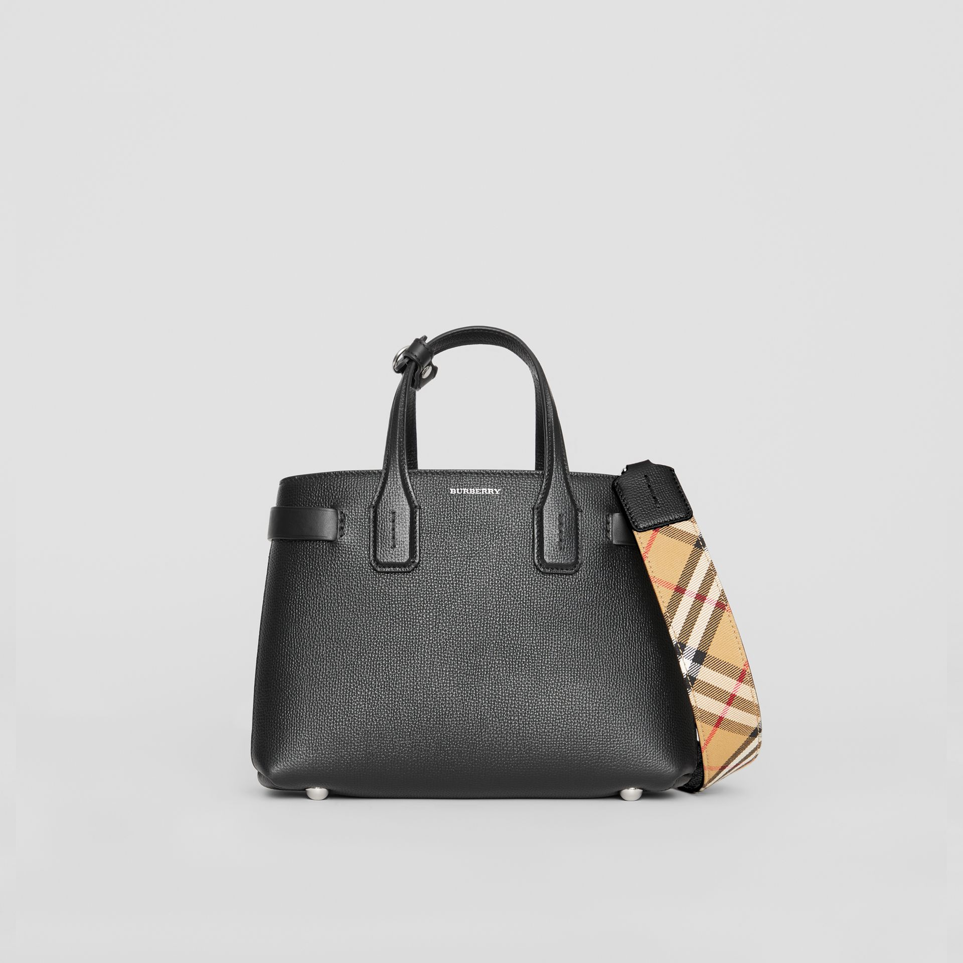 The Small Banner in Leather and Vintage Check in Black - Women | Burberry United States - gallery image 0