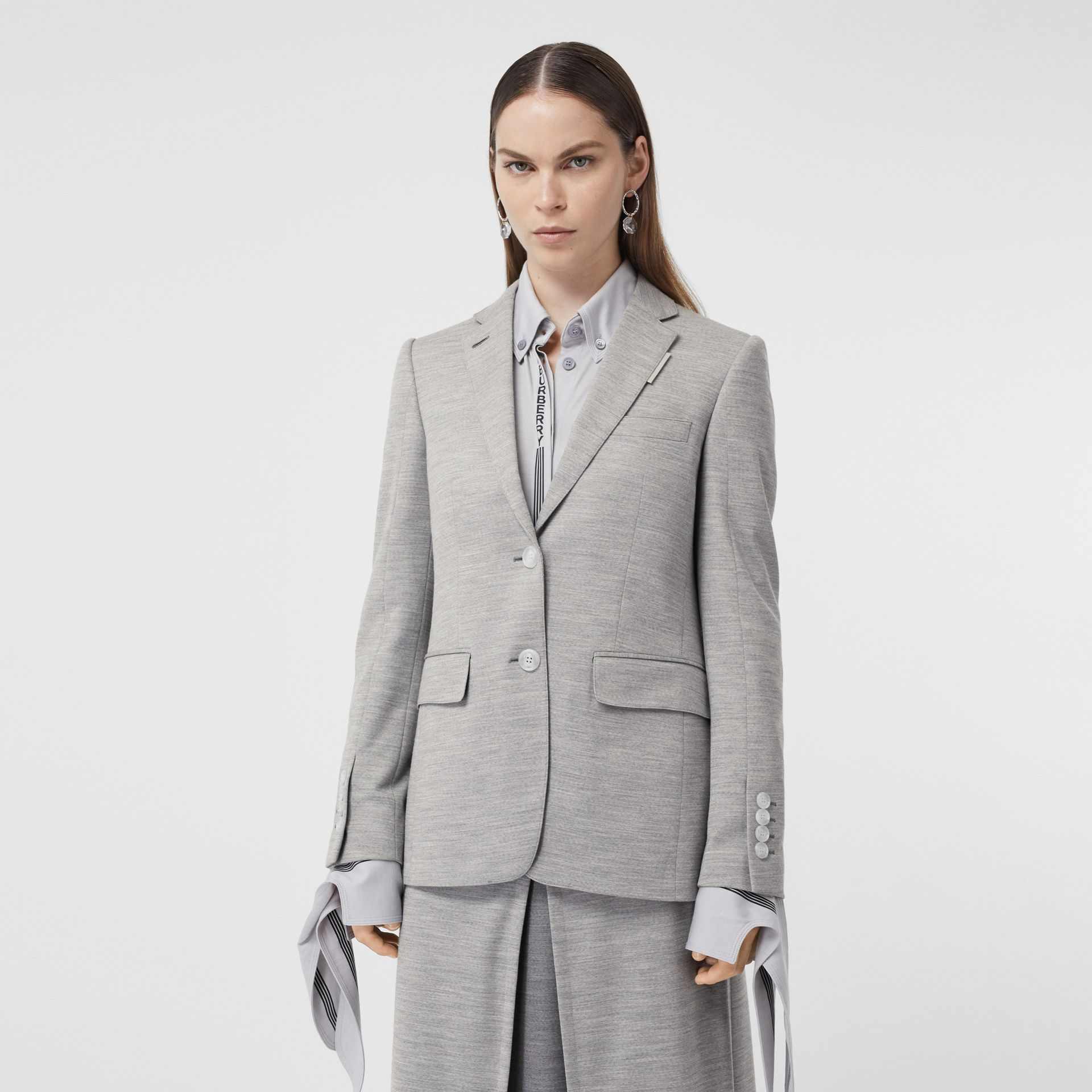 Technical Wool Jersey Blazer in Grey Taupe Melange - Women | Burberry - gallery image 5