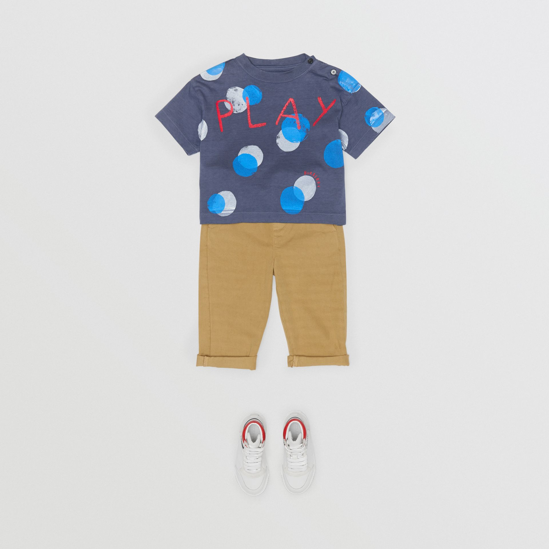 Oversized Spot Print Cotton T-shirt in Navy Melange - Children | Burberry - gallery image 2