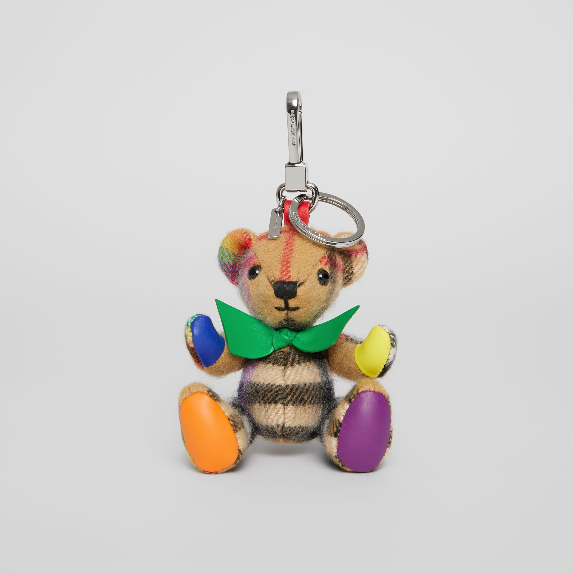 Thomas Bear Charm in Rainbow Vintage Check Cashmere in Multicolour/ Antique Yellow | Burberry United Kingdom - gallery image 4