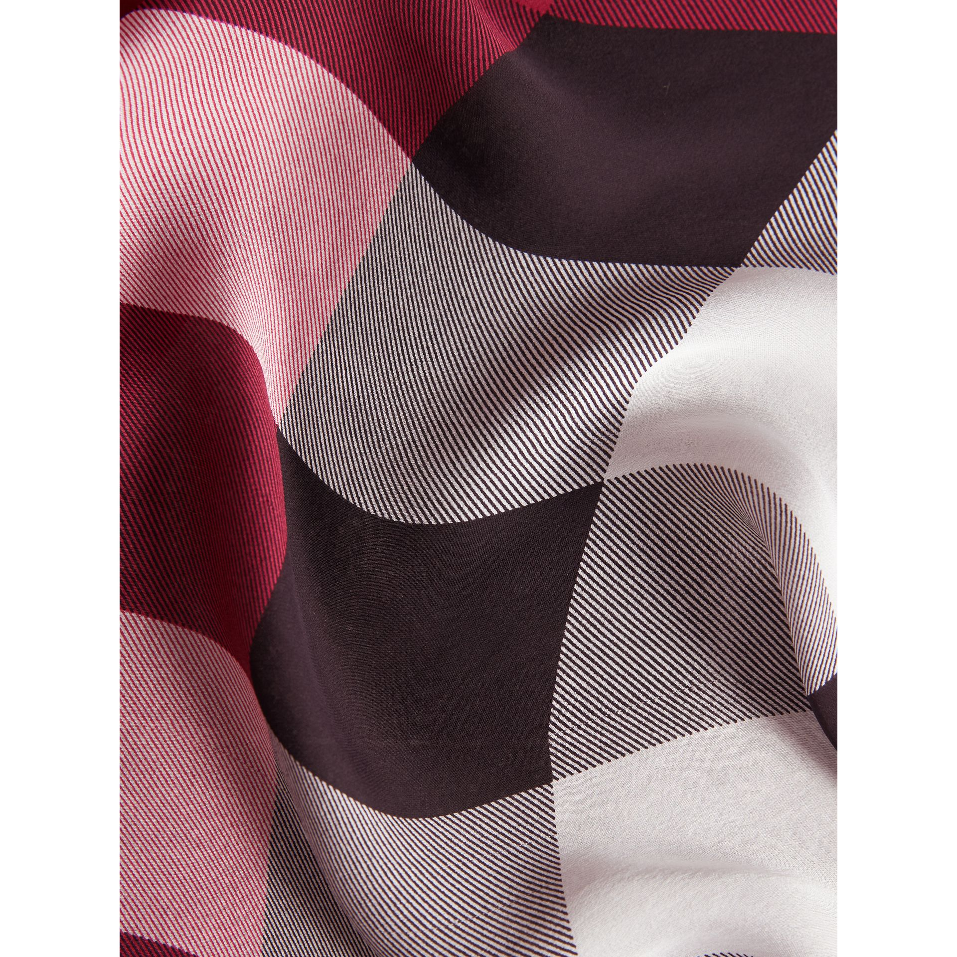 Lightweight Check Silk Scarf in Fuchsia Pink - Women | Burberry United Kingdom - gallery image 2