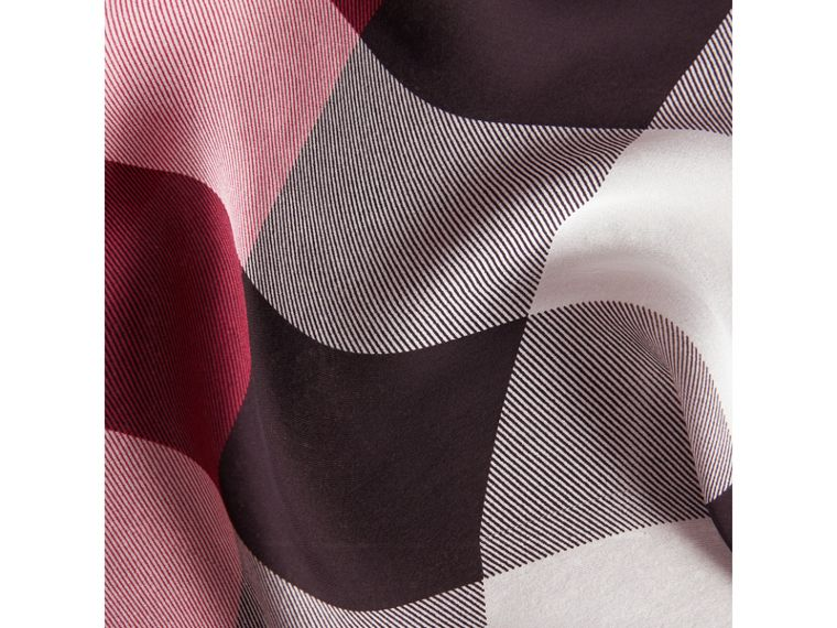Lightweight Check Silk Scarf in Fuchsia Pink - Women | Burberry United Kingdom - cell image 1