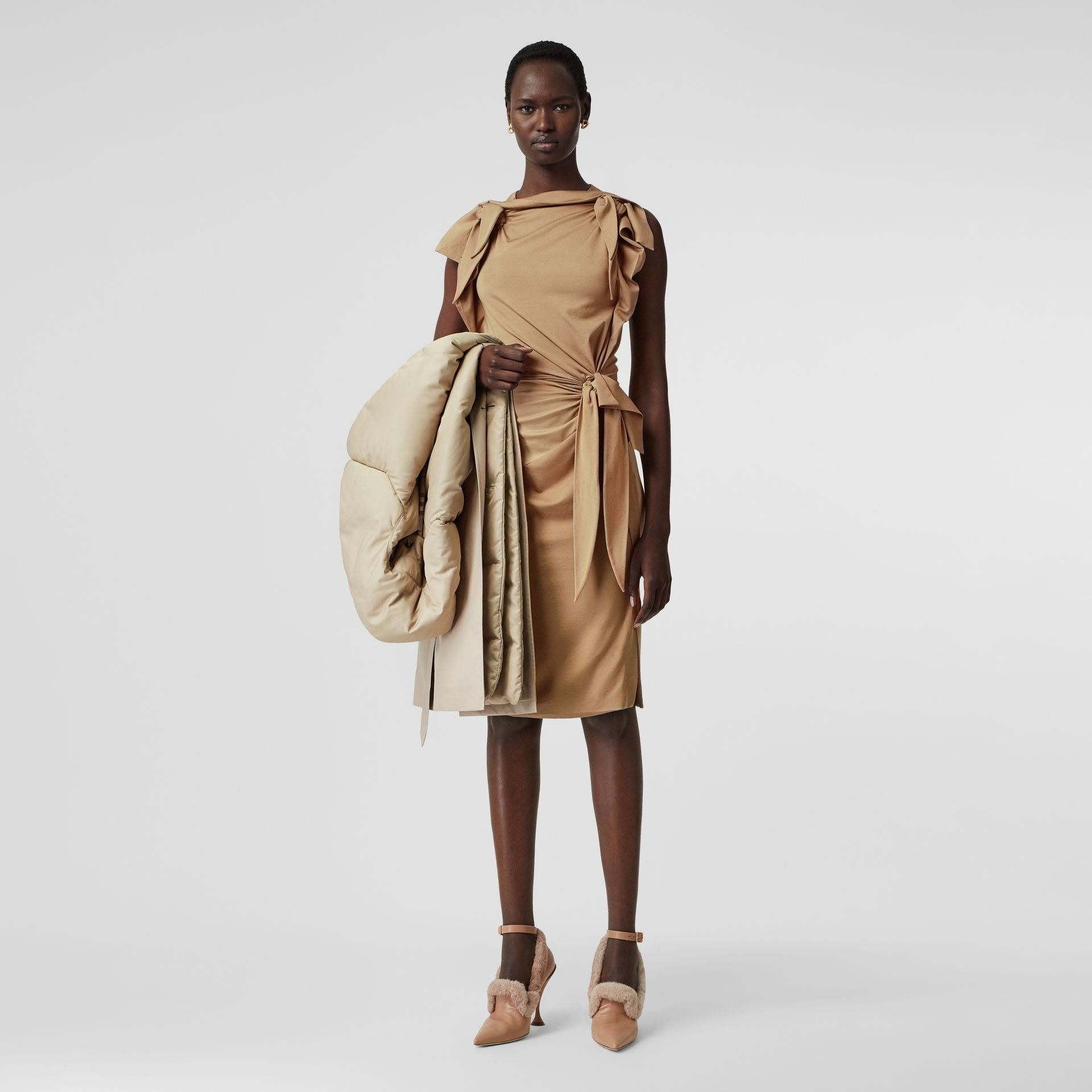 Tie Detail Tri-tone Silk Jersey Dress in Wheat - Women | Burberry - gallery image 0