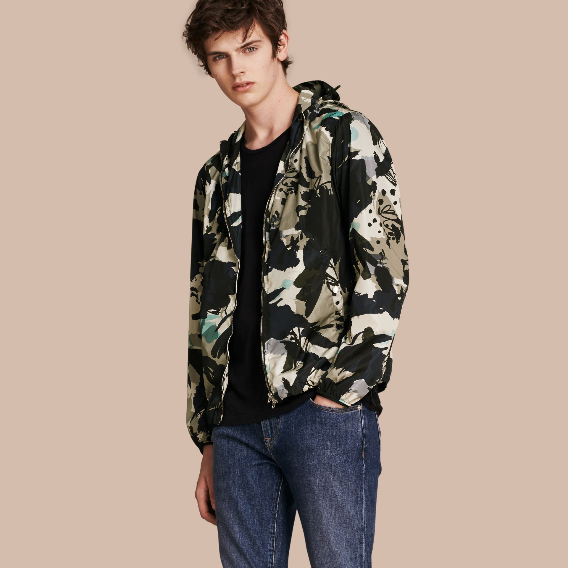 Bright navy Hooded Abstract Floral Print Showerproof Jacket - gallery image 1