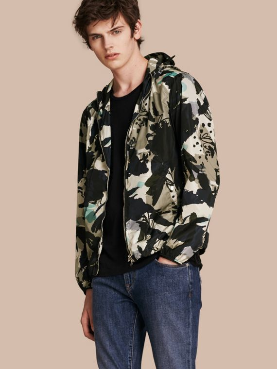 Hooded Abstract Floral Print Showerproof Jacket