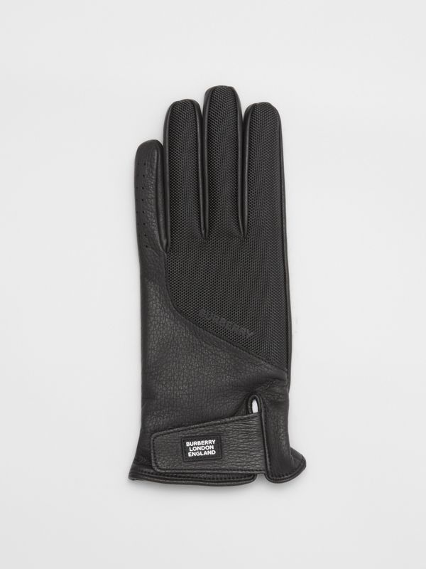 Logo Appliqué Cashmere-lined Deerskin Gloves in Black - Men | Burberry - cell image 2