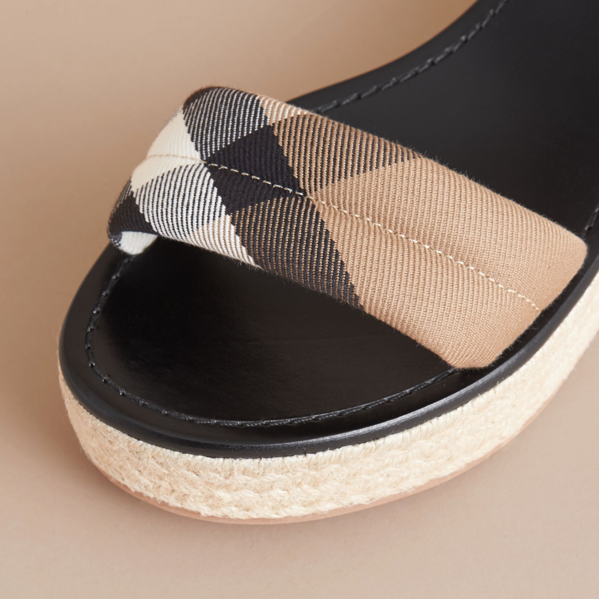 Leather and House Check Espadrille Platform Sandals in Black - gallery image 2