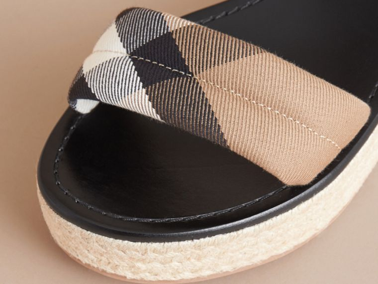 Leather and House Check Espadrille Platform Sandals in Black - cell image 1