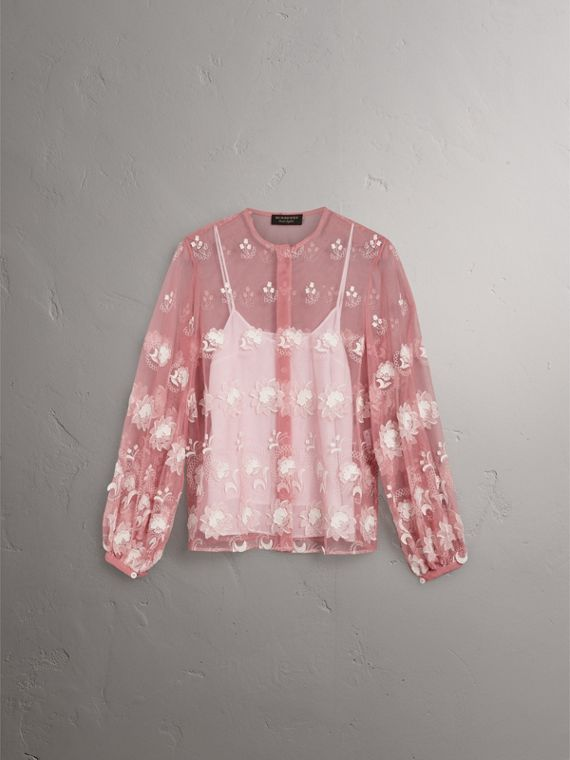 Puff-sleeve Embroidered Tulle Blouse in Rose Pink/white - Women | Burberry Singapore - cell image 3