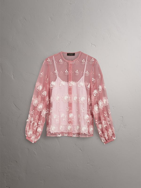 Puff-sleeve Embroidered Tulle Blouse in Rose Pink/white - Women | Burberry United Kingdom - cell image 3