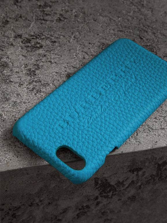 Neon Leather iPhone 7 Case in Bright Blue | Burberry United Kingdom - cell image 1