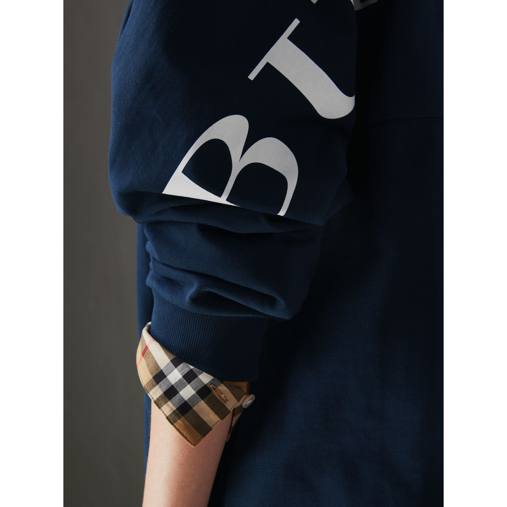 Logo Print Cotton Oversized Top in Navy - Women | Burberry - gallery image 1