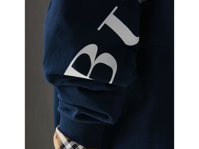 Printed Cotton Oversized Sweatshirt in Navy - Women | Burberry - cell image 1
