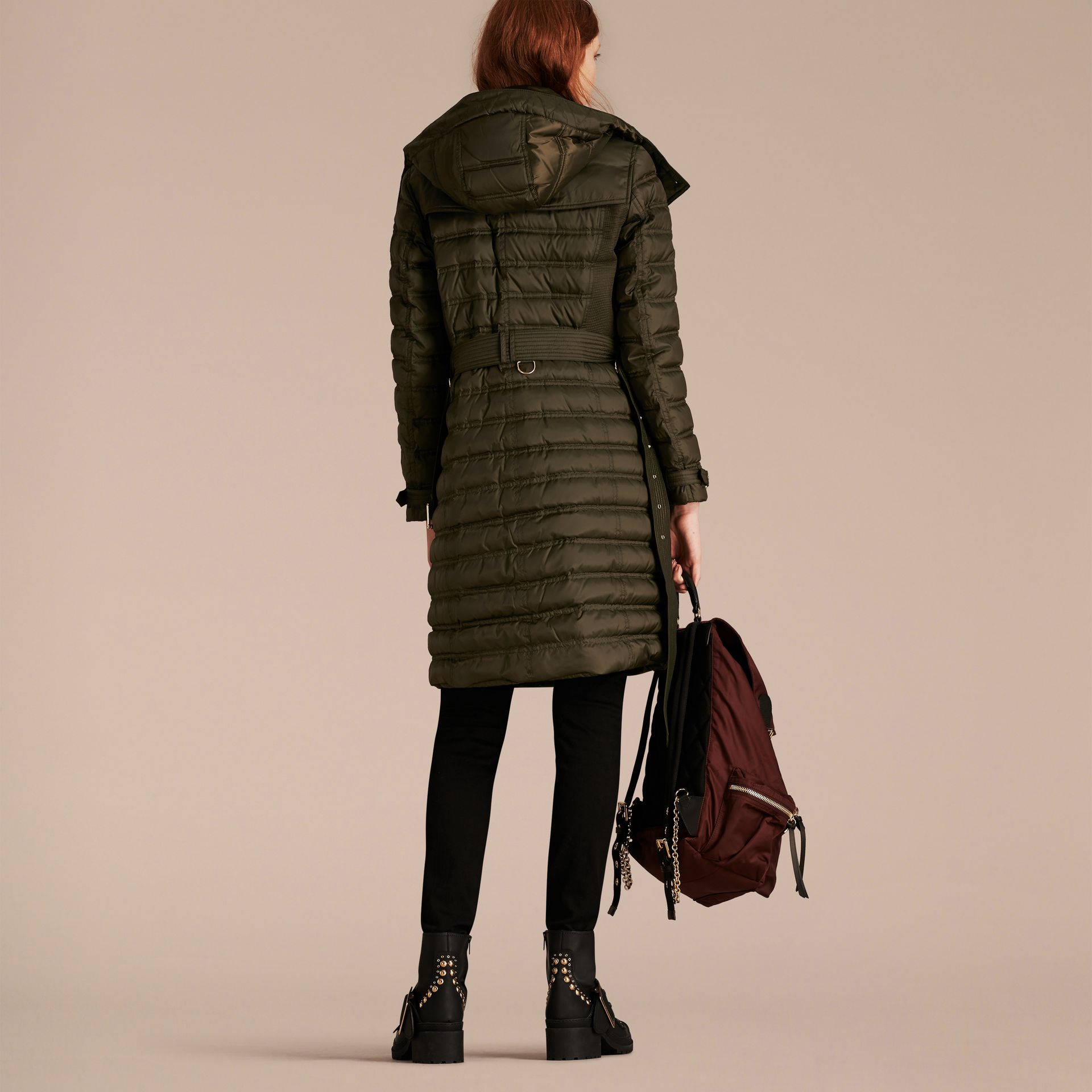 Down-filled Puffer Coat with Detachable Hood in Dark Olive - gallery image 3