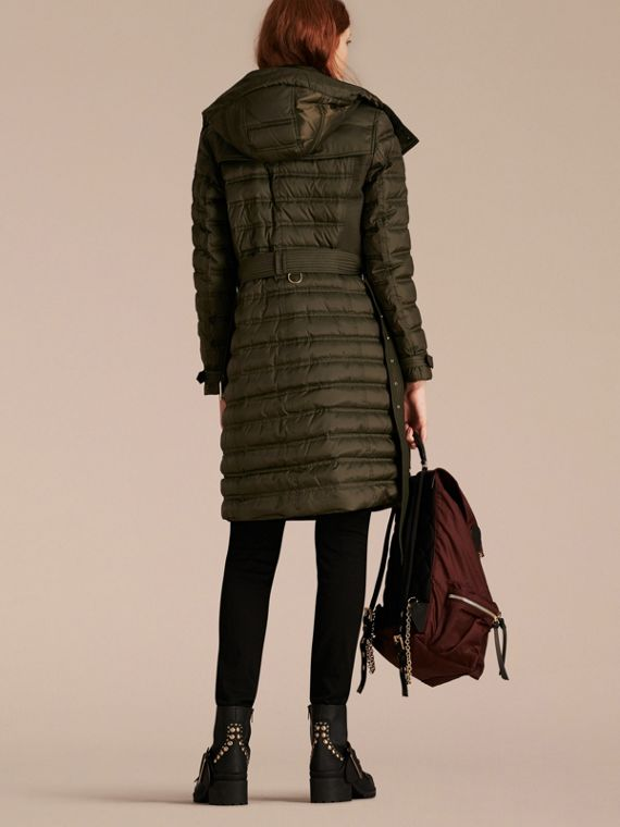 Down-filled Puffer Coat with Detachable Hood in Dark Olive - cell image 2