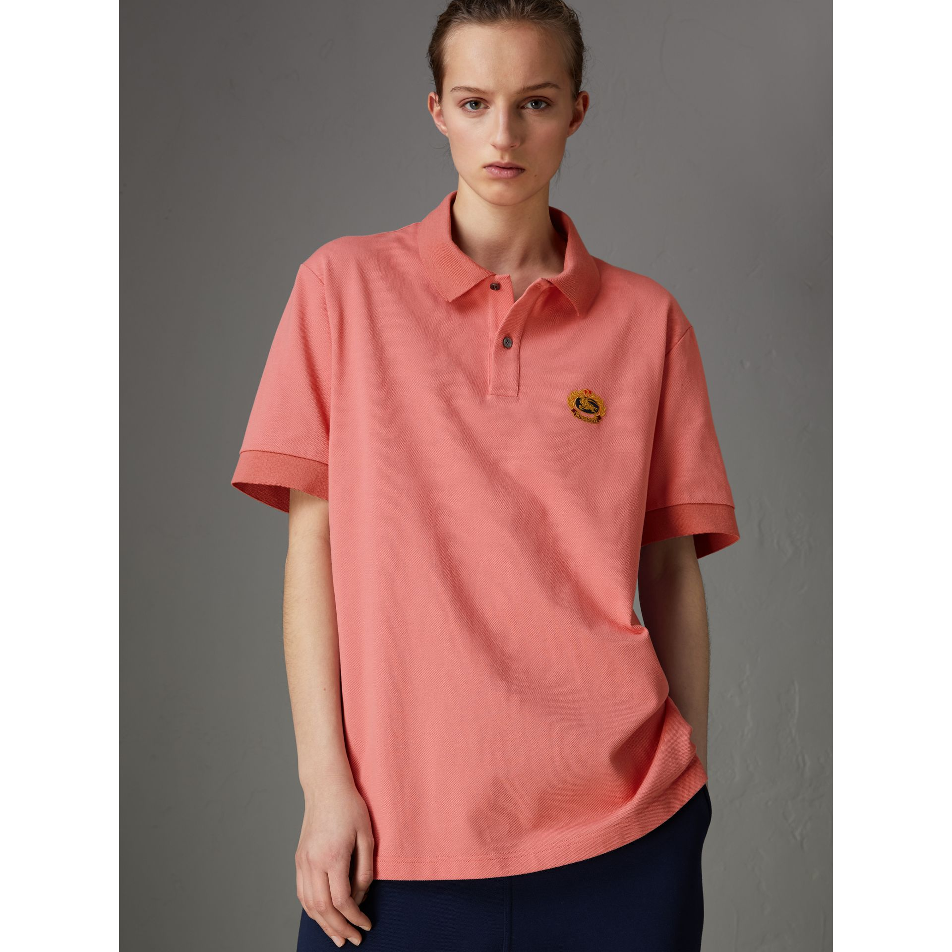 Reissued Cotton Polo Shirt in Coral - Women | Burberry - gallery image 4