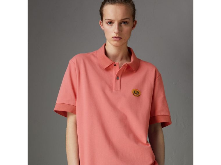 Reissued Cotton Polo Shirt in Coral - Women | Burberry - cell image 4