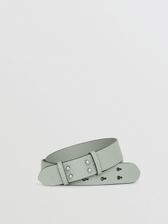 The Medium Belt Bag Grainy Leather Belt in Grey Blue
