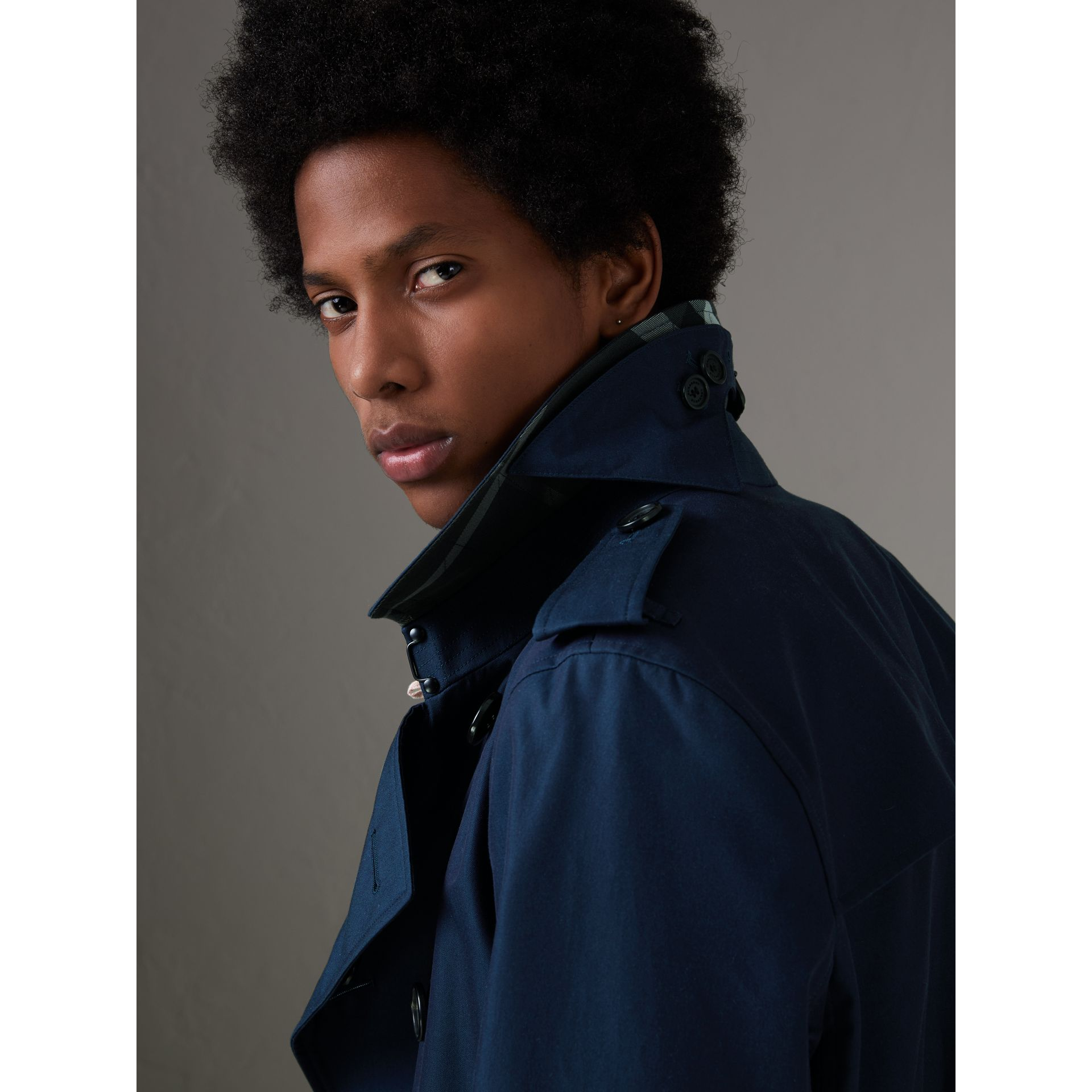 Cotton Gabardine Trench Coat in Teal Blue - Men | Burberry Singapore - gallery image 1