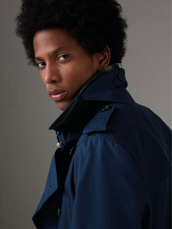 Cotton Gabardine Trench Coat in Teal Blue - Men | Burberry United Kingdom - cell image 1