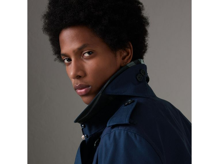 Cotton Gabardine Trench Coat in Teal Blue - Men | Burberry Singapore - cell image 1