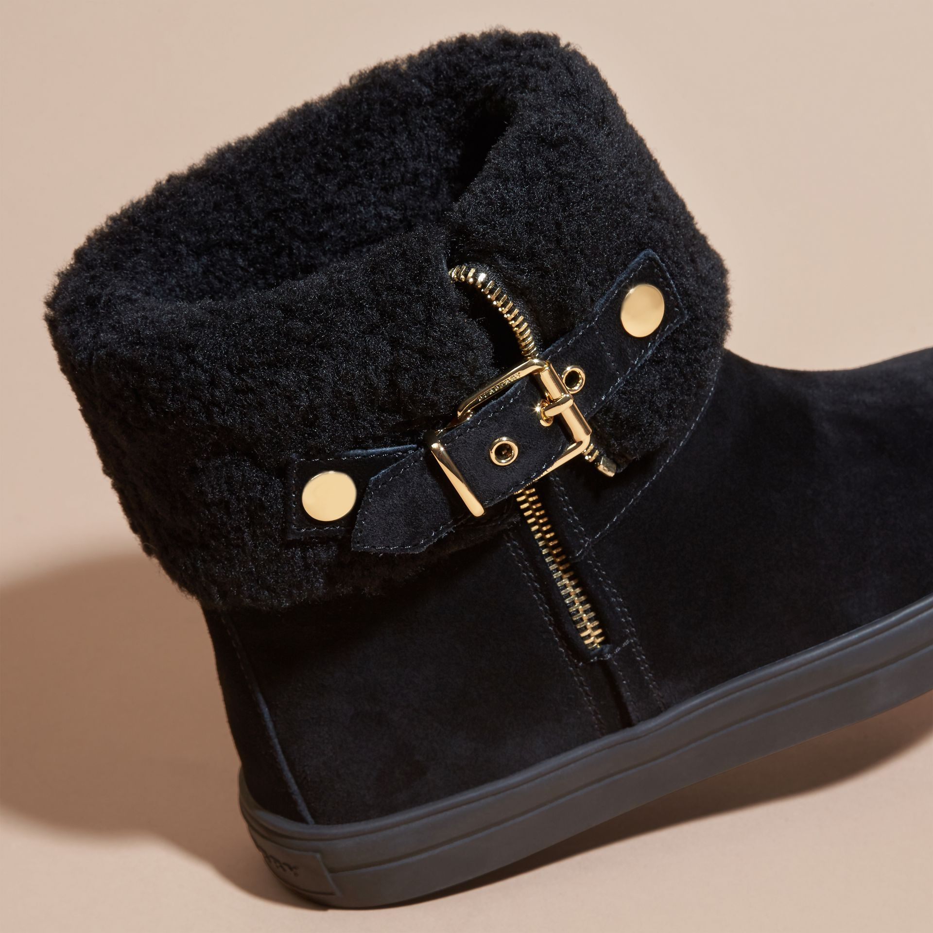 Black Shearling-lined Suede Ankle Boots - gallery image 2