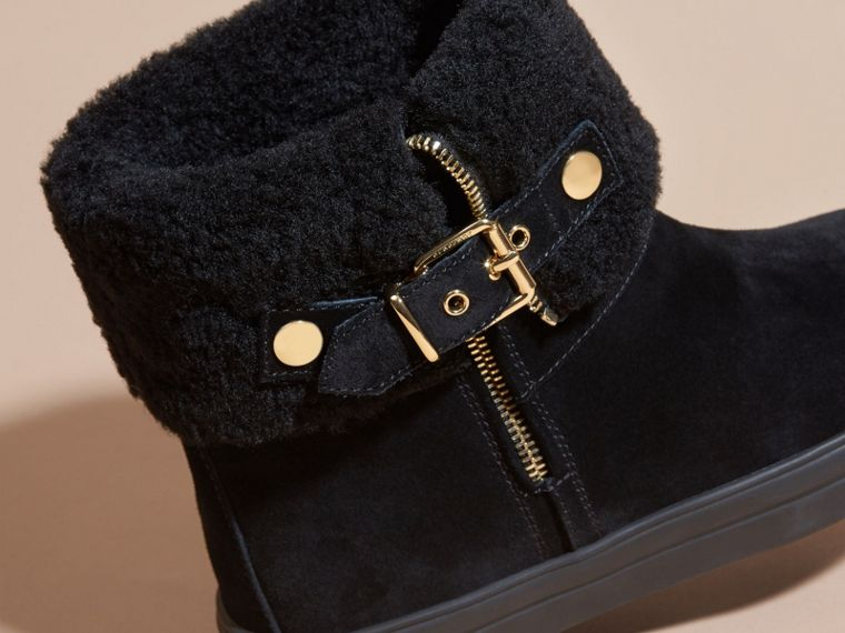 Shearling-lined Suede Ankle Boots in Black - Women | Burberry - cell image 1