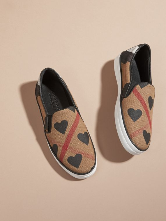 Check/black Check and Heart Print Slip-on Trainers Check/black - cell image 2